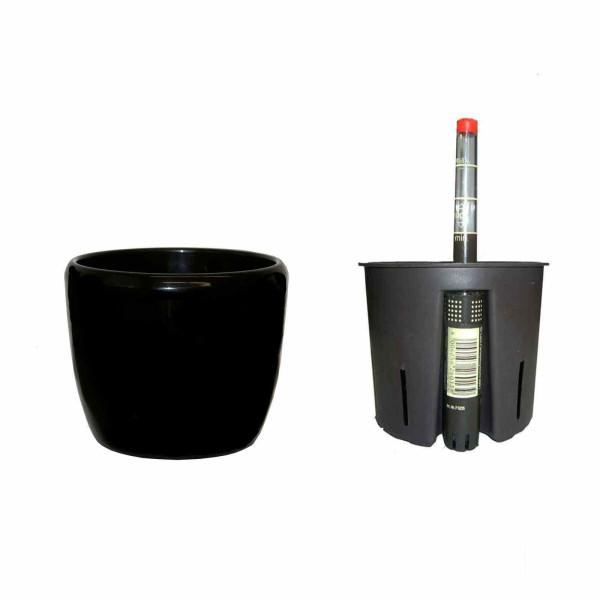 Set3 Keramik Hydro Blumentopf Venus schwarz + Kulturtopf + Wasserstandsanzeiger