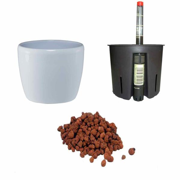 Set4 Keramik Blumentopf Venus weiß+Bewässerungs-Set für Hydropflanzen