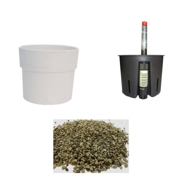 Set4 Keramik Blumentopf Nova antikweiß+Bewässerungs-Set für Erdpflanzen