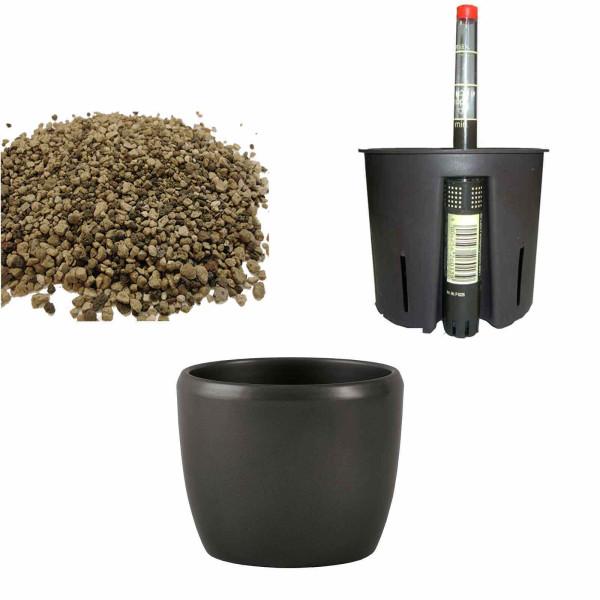 Set4 Keramik Blumentopf Venus dunkelsilber+Bewässerungs-Set für Erdpflanzen