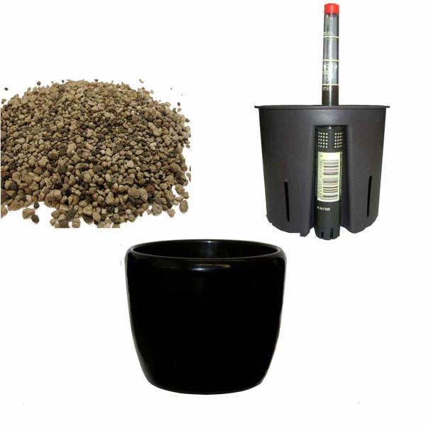 Set4 Keramik Blumentopf Venus schwarz+Bewässerungs-Set für Erdpflanzen