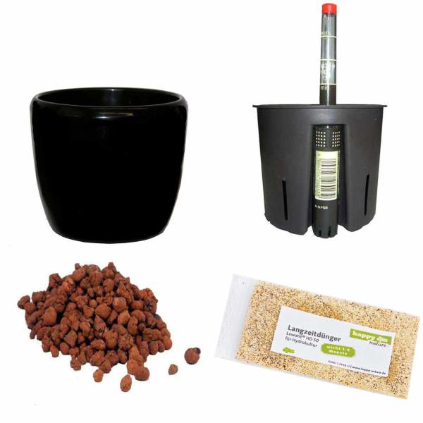 Set5 Keramik Blumentopf Venus schwarz+Bewässerungs-Set für Hydropflanzen