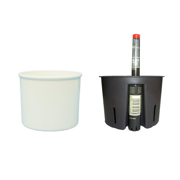 Set3 Kunststoff Hydro Blumentopf Corona weiss+Kulturtopf+Wasserstandsanzeiger