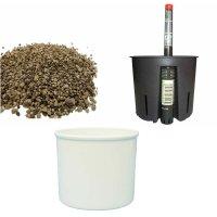 Set4 Kunststoff Blumentopf Corona weiß+Bewässerungs-Set für Erdpflanzen
