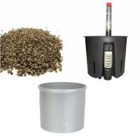 Set4 Kunststoff Blumentopf Corona silber+Bewässerungs-Set für Erdpflanzen