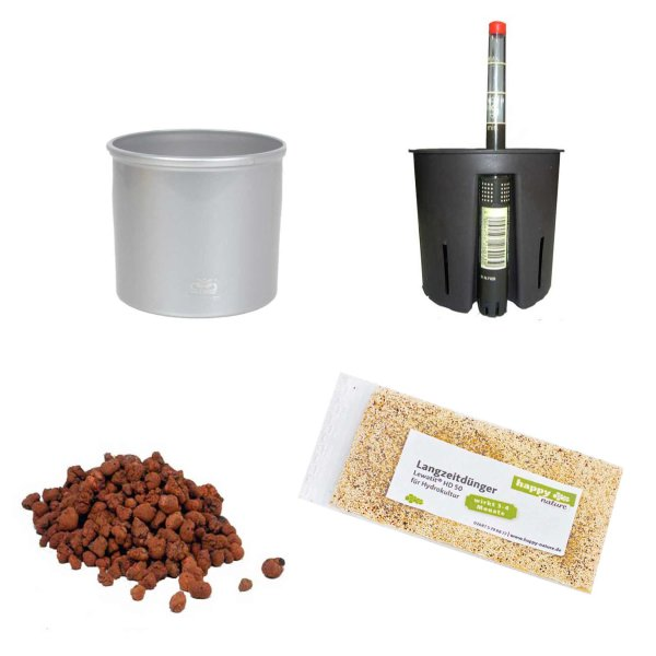 Set5 Kunststoff Blumentopf Corona silber+Bewässerungs-Set für Hydropflanzen