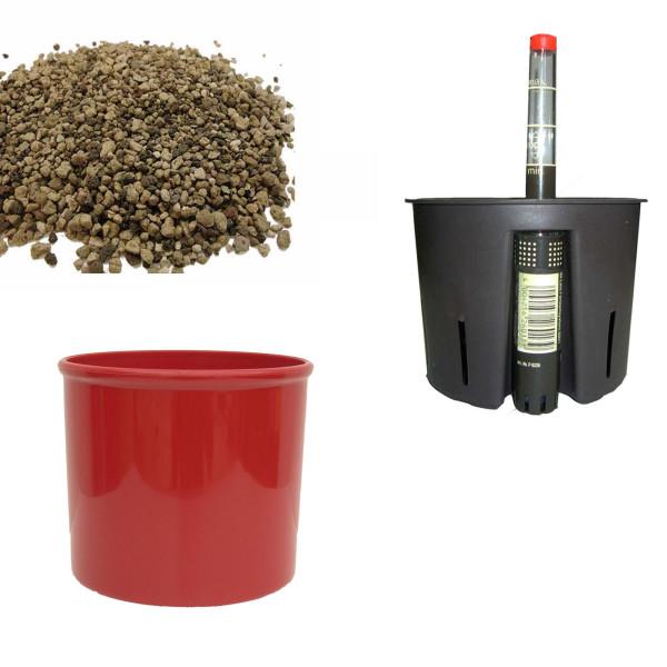 Set4 Kunststoff Blumentopf Corona kaminrot+Bewässerungs-Set für Erdpflanzen