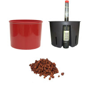 Set4 Kunststoff Blumentopf Corona kaminrot+Bewässerungs-Set für Hydropflanzen