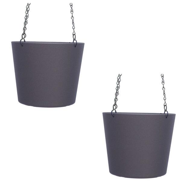 Set2 Kunststoff Ampel-Flori dunkelsilber