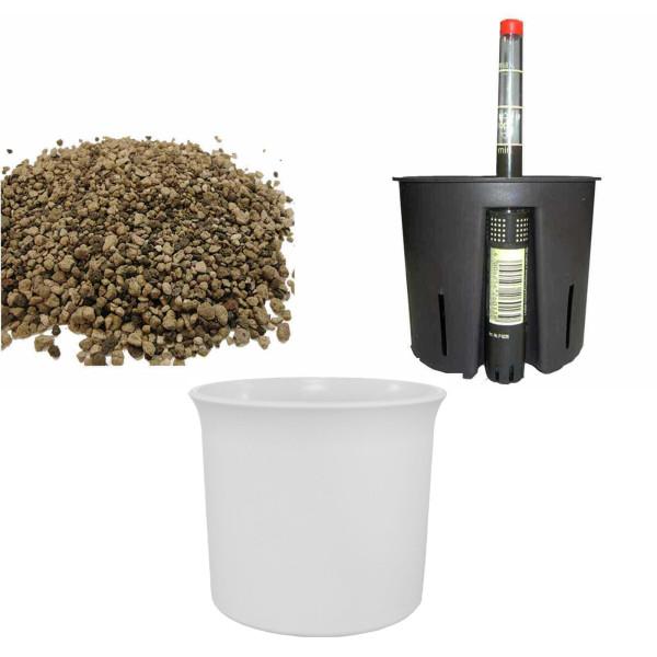 Set4 Kunststoff Blumentopf Atlas weiß+Bewässerungs-Set für Erdpflanzen