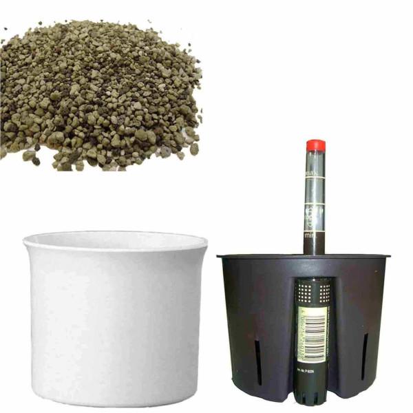 Set4 Kunststoff Blumenkübel Atlas weiß+Bewässerungs-Set für Erdpflanzen