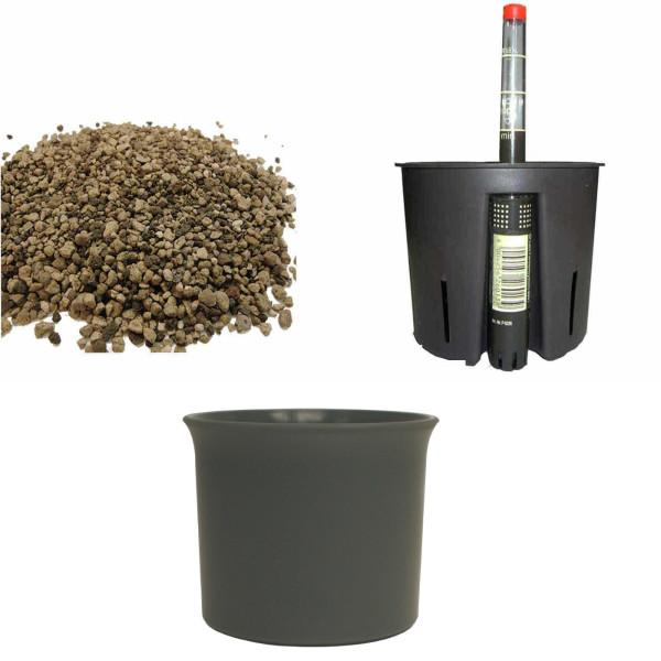 Set4 Kunststoff Blumentopf Atlas anthrazit+Bewässerungs-Set für Erdpflanzen