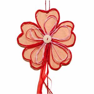 Deko Party Girlande Blume 100 cm  Farbe Erdbeere für...