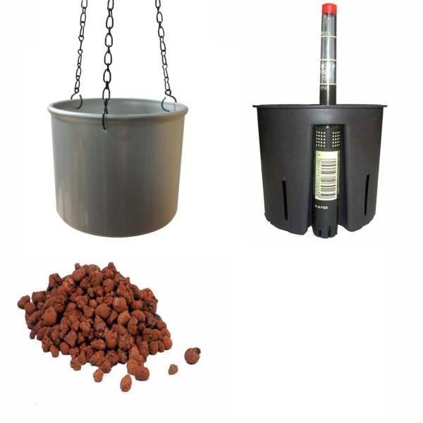 Set4 Kunststoff Ampel Corona silber+Bewässerungs-Set für Hydropflanzen