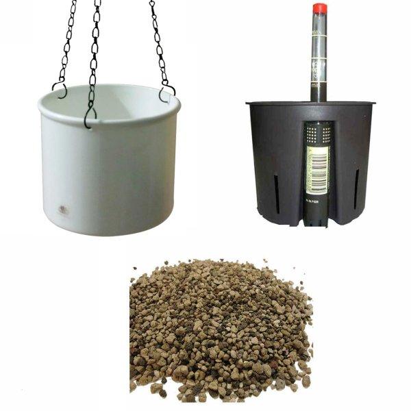 Set4 Kunststoff Ampel Corona weiß+Bewässerungs-Set für Erdpflanzen