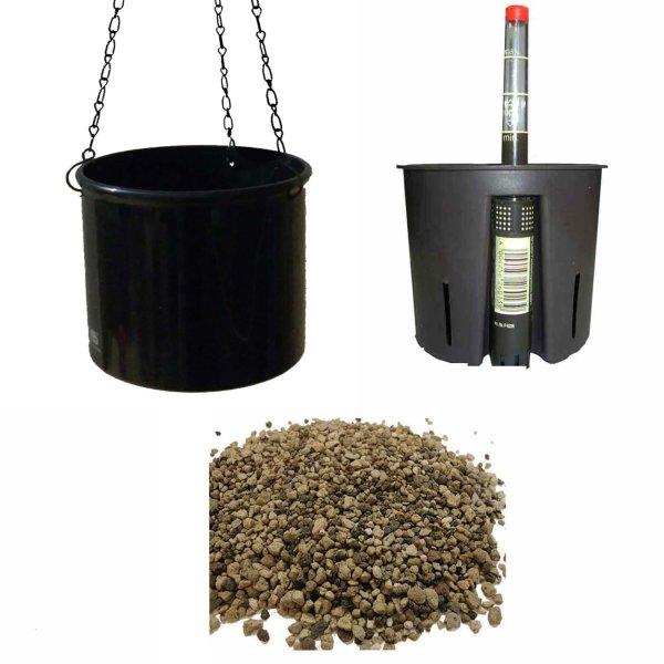 Set4 Kunststoff Ampel Corona schwarz+Bewässerungs-Set für Erdpflanzen