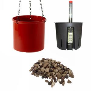 Set4 Kunststoff Ampel Corona kaminrot+Bewässerungs-Set für Erdpflanzen