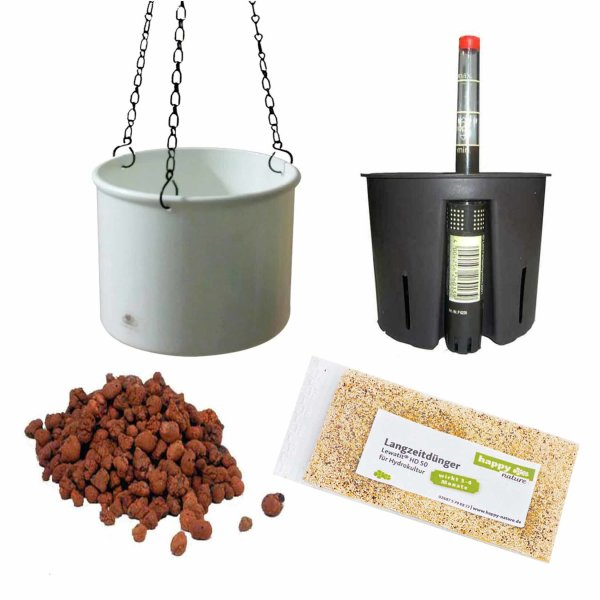 Set5 Kunststoff Ampel Corona weiß+Bewässerungs-Set für Hydropflanzen