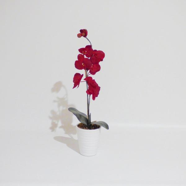 Kunstblume Orchidee bordeaux, in Übertopf weiss, Höhe 70cm, 13 Blüten
