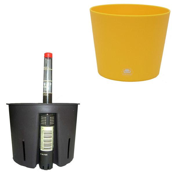 Set 3 teilig für Hydrokultur Blumentopf Flori Ø 16 gelb + Kulturtopf + Wasserstandsanzeiger