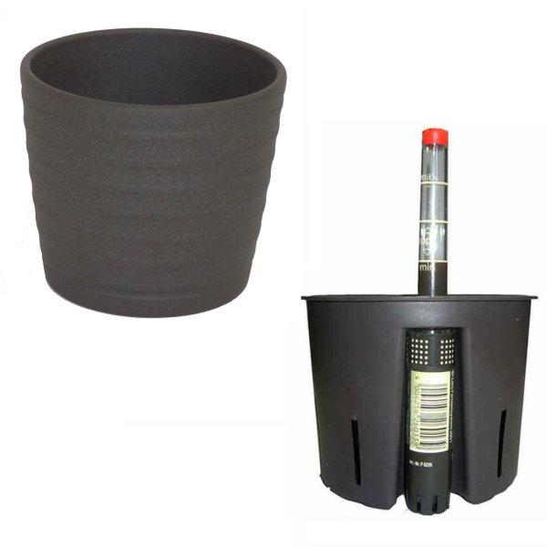 Set3 3 teilig für Hydrokultur Blumentopf Keramik Maui 13/12 anthrazit Ø 16 cm H 13,5 cm + Kulturtopf + Wasserstandsanzeiger