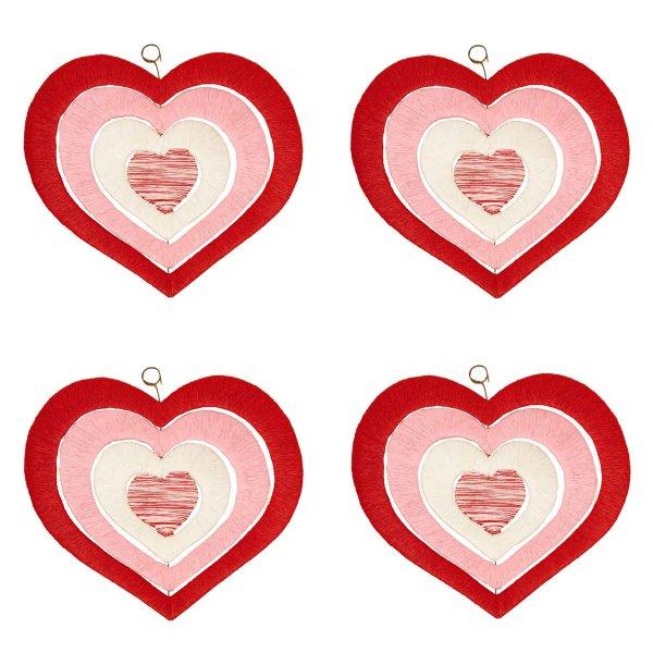 Set 4 teilig Fenster - Deko Mobile Papierkordel Herz für Ostern Frühjahr und Herbst