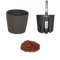Set4 4 teilig für Hydrokultur Blumentopf Keramik Maui 13/12 anthrazit Ø 16 cm H 13,5 cm + Kulturtopf + Wasserstandsanzeiger + Blähton