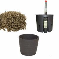 Set4 4 teilig für Erdpflanzen Blumentopf Keramik Maui 13/12 anthrazit Ø 16 cm H 13,5cm + Kulturtopf + Wasserstandsanzeiger + Langzeitsubstrat