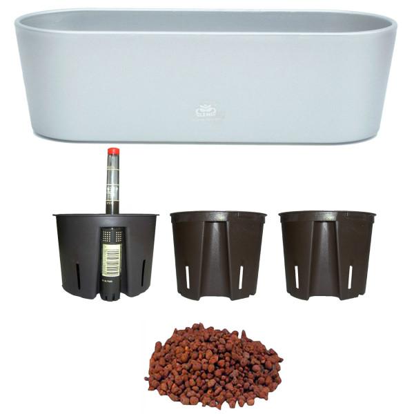Set6 6 teilig Kunststoff Flori Pflanzschale silber für Hydrokultur