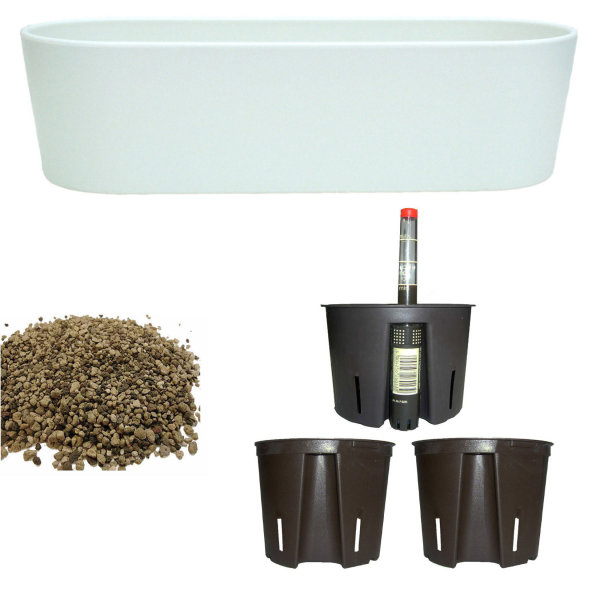 Set6 6 teilig Kunststoff Flori Pflanzschale weiss für Erdpflanzen