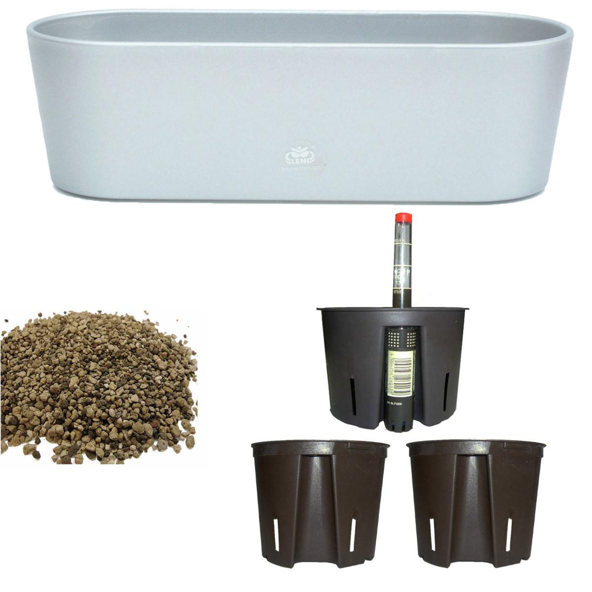Set6 6 teilig Kunststoff Flori Pflanzschale dunkelsilber für Erdpflanzen