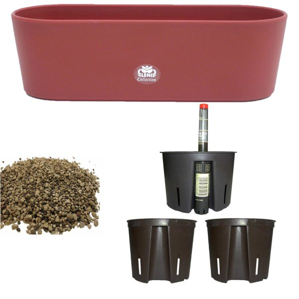 Set6 6 teilig Kunststoff Flori Pflanzschale bordeaux für Erdpflanzen
