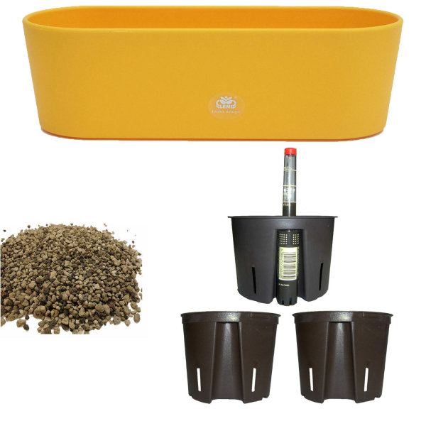 Set6 6 teilig Kunststoff Flori Pflanzschale gelb für Erdpflanzen