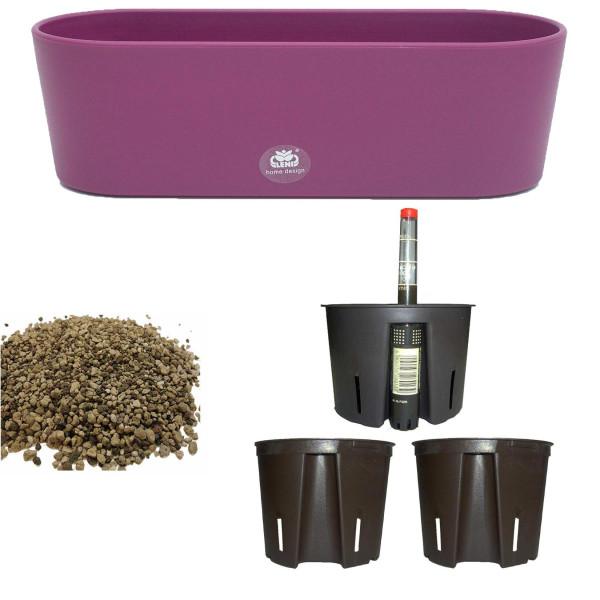 Set6 6 teilig Kunststoff Flori Pflanzschale dunkelviolett für Erdpflanzen