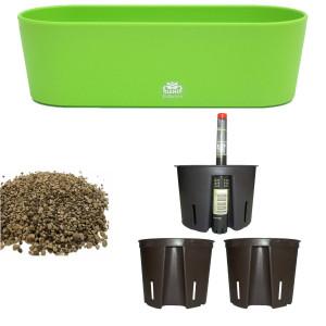 Set6 6 teilig Kunststoff Flori Pflanzschale apfelgrün für Erdpflanzen