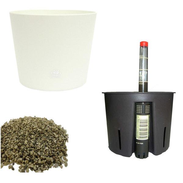 Set4 4 teilig Blumentopf Flori Ø 16 weiss + Kulturtopf + Wasserstandsanzeiger für Erdpflanzen