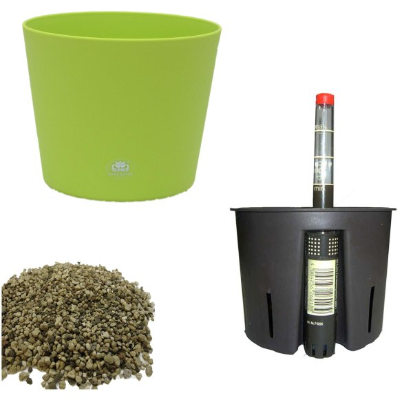 Set4 4 teilig Blumentopf Flori Ø 16 grün + Kulturtopf + Wasserstandsanzeiger für Erdpflanzen
