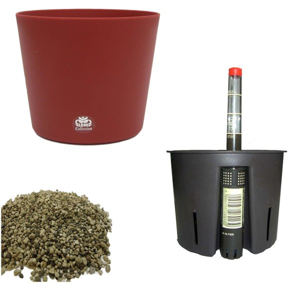 Set4 4 teilig Blumentopf Flori Ø 16 bordeaux + Kulturtopf + Wasserstandsanzeiger für Erdpflanzen
