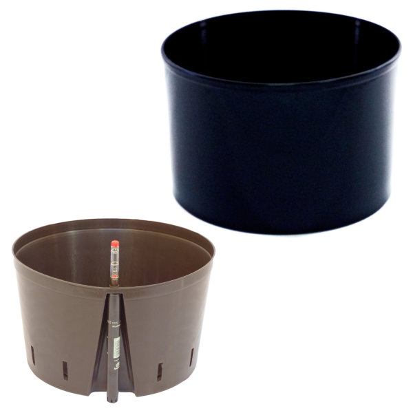 Set3 Blumenkübel Corona schwarz Ø 37cm H 24,5cm ohne Rollen