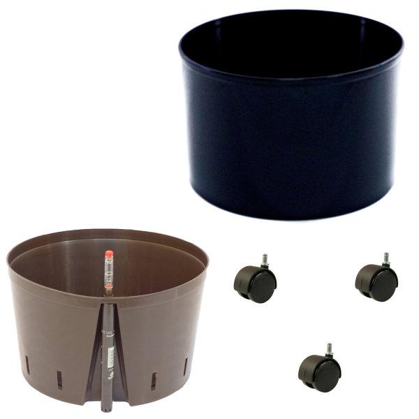 Set3 Blumenkübel Corona schwarz Ø 37cm H 24,5cm mit wb_Rollen