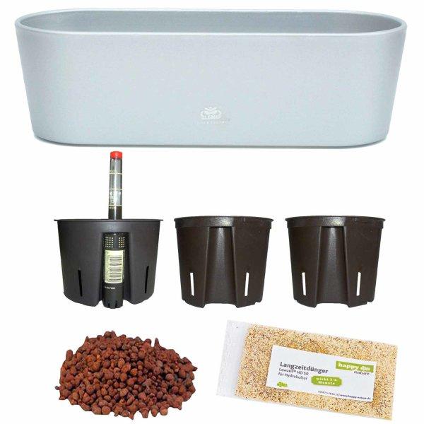 Set7 7 teilig Kunststoff Flori Pflanzschale silber für Hydrokultur