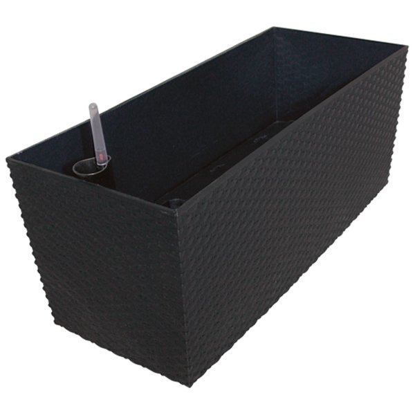 Kunststoff Blumenkasten Rato Case L 60 cm anthrazit mit Wasserspeicher + Überlauf