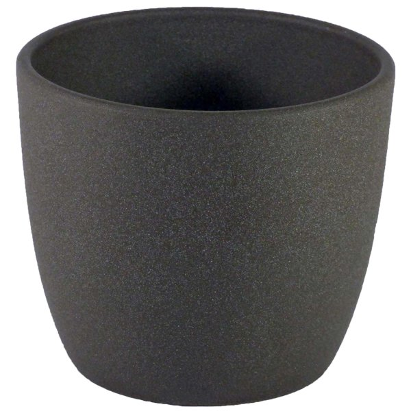 B Wahre Keramik Hydro Blumentopf Mallorca 11/09 anthrazit Ø 12,5 cm H 12 cm