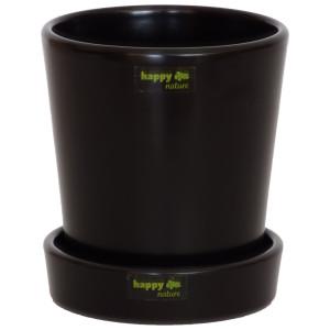 Keramik Blumentopf Ibiza schwarz matt mit Untersetzer