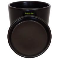 Set6 6 Keramik Blumentöpfe Ibiza schwarz matt mit Untersetzer