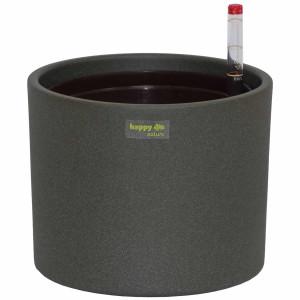 Set3 Keramik Hydro Blumentopf Madeira grau + Kulturtopf + Wasserstandsanzeiger