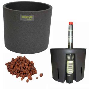 Set4 Keramik Blumentopf Madeira grau für Hydroplfanzen