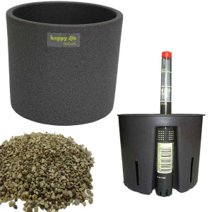 Set4 Keramik Blumentopf Madeira grau für Erdpflanzen