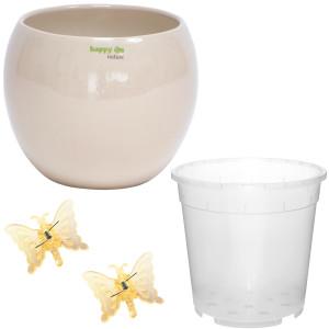 Set4 für Orchideen Keramik Blumentopf Pisa rund sand...