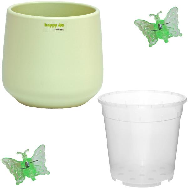 Set4 für Orchideen Keramik Blumentopf Sylt Pastellfarbe mint grün Ø 13 cm H 13.5 cm + 2 Clips